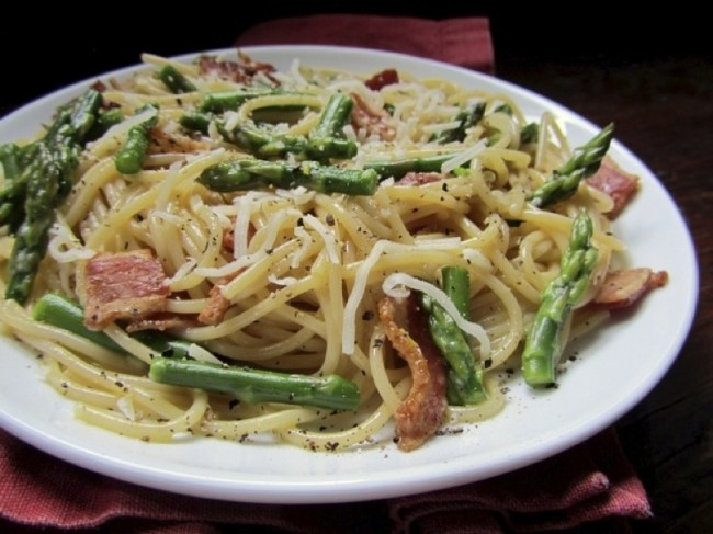 Striking It Rich With Asparagus Carbonara