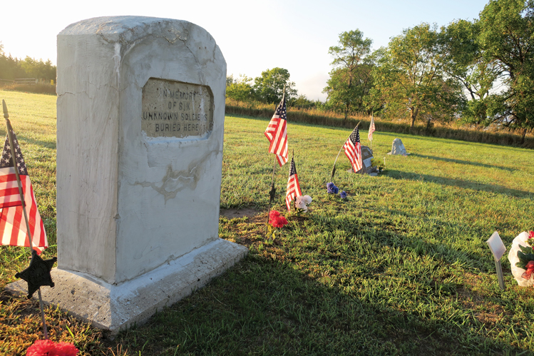 GENERAL CUSTER DISCOVERS REMAINS OF MEN OF SEVENTH UNTIED STATES CAVALRY INDIANS