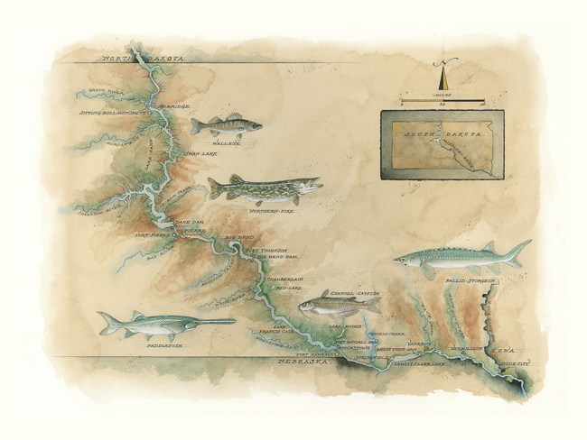 Missouri River Map Print by Mike Reagan