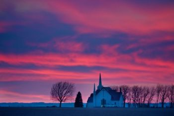 Post sunset colors make a unique backdrop for Skresfrud Lutheran Church in Lincoln County.