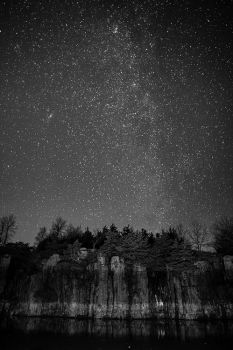 Winter's faint Milky Way above Palisades State Park south of Garretson.