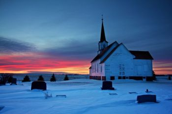 Oslo Church in Brookings County just after sunset.