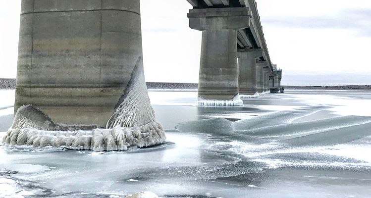 An icy view at Lake Oahe. Photo by Lance Bertram.