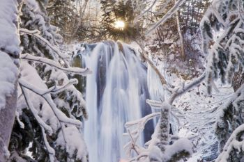 Spearfish Falls on a cold and snowy December day.