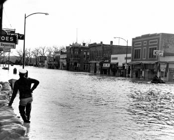 Snow from the Blizzard of 1952 melted into a devastating spring flood, especially for cities like Pierre, situated on the Missouri River. Photo courtesy of the Cultural Heritage Center