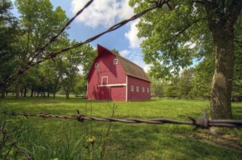The red barn in the homestead area.