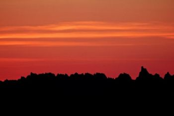 Begeman spotted a classic Badlands sunset over the Pinnacles on the drive out to Butte County. Click to enlarge photos.
