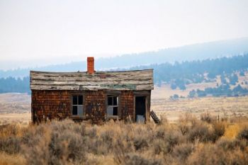One of the abandoned structures in the once-thriving cattle town of Dewey, South Dakota.
