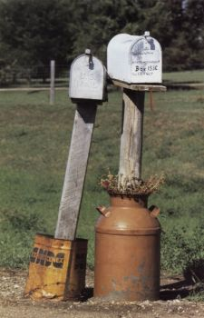 Perhaps these nuzzling mailboxes Janice Mikesell found near Huron in 1998 were only used for love letters.