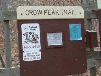 Looking for Crow Peak Trail? This sign will not help you.