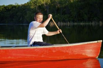Trevor shows off his rowing skills.