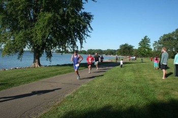 Runners finish the course along Lewis & Clark Lake.
