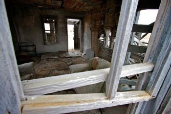 Inside an abandoned home in Dewey.