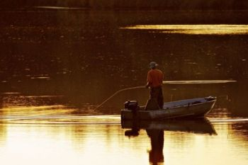 Fishing Lake Alvin in the early evening.