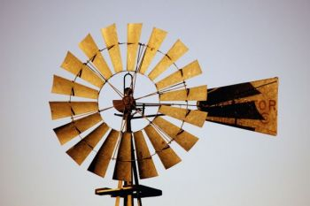 A close-up of a Bon Homme County prairie windmill.
