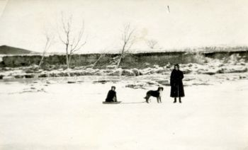 A good Christmas slideshow revisits days long gone. Here, Begeman's great-grandmother pulls his great aunt in a sled near the Moreau River's banks. Click to enlarge photos.