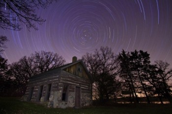 A starry backdrop at Ole Mortimer's Cabin at Oakwood State Park.
