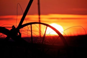 Unused farm equipment silhouetted by the setting sun.