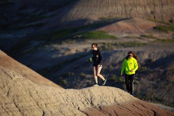Brook and Cooper Gassman retrace a favorite family Badlands hike. Photo by Stephen Gassman. Click to enlarge photo.