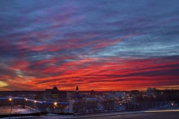 Sunrise over downtown Sioux Falls.