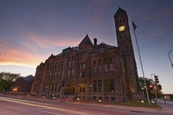 Sioux Falls' Old Courthouse Museum at dusk.