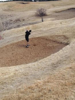 Red Rock's sand trap makes a more welcoming beach than most you'll find in South Dakota in March.
