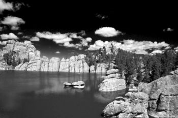 Deep blue skies allow for dramatic black and white photography in the high country, as shown by this photo of Sylvan Lake.