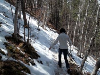 Snow on the trail makes the hike a little more difficult.