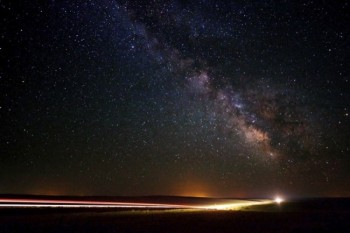 The Milky Way above Highway 79 south of Hermosa, South Dakota.