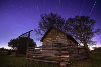 The stars above historic Samuelson cabin at Beaver Creek Nature area near Garretson.