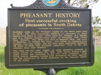 A roadside marker near Redfield explains Spink County's claim to pheasant fame.