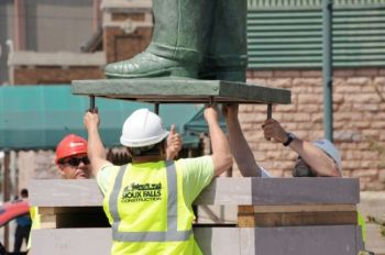 Four bolts secured the Pettigrew statue to its final position.