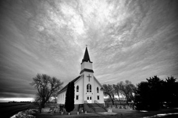Sometimes the sky looks even more interesting in black and white, as in this photo of Immanuel Lutheran Church near Canova.
