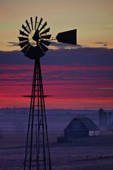 Purple haze sets off this windmill, located somewhere between Hurley and Freeman, South Dakota.