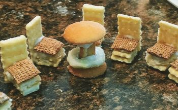 Crackers, Chex and vanilla wafers make tasty tables and chairs.