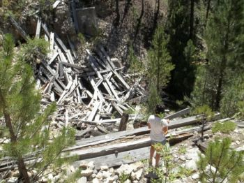 Old railroad trestle debris at the bottom of the gorge.