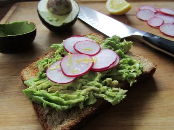 Fran Hill's avocado toast topped with radish salad combines foods grown locally with those purchased at the grocery store.