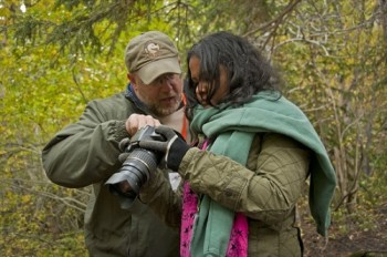 Instructor Les Voorhis of Outdoor Photo Workshops helps a Black Hills Photo Shootout attendee understand how to take better pictures in Spearfish Canyon. (Photo by Jenna Nagel)