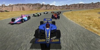 "Photographs of the rugged landscape of Badlands National Park make up the backdrop for video game racing in the ""Badlands Byway"" race track."