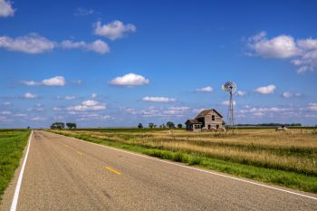 Blue skies and an open road in southwest Kingsbury County.