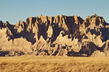 Early evening light accentuates the rugged formations of the eastern edge of Badlands National Park.