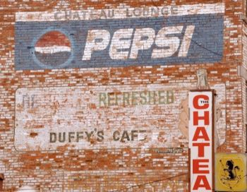 The brick signage has outlived the historic Chateau in Fort Pierre.