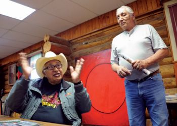 Albert White Hat (left) worked tirelessly to ensure that his native Lakota language did not disappear.