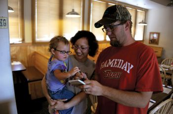 Order takers at The Wrangler include Steve and Amanda Blume and their daughter, Reghan.