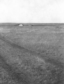 The Bown's little house sat unprotected on the prairie just before the 1947 fire.
