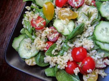 Brown Rice Garden Salad is the perfect late summer dish, accentuated by recently ripened garden tomatoes.