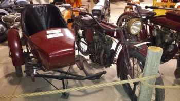 An Indian motorcycle and sidecar are also part of the Freeman museum's exhibits.