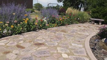 Each one of the stepping stones is engraved by Tammy.