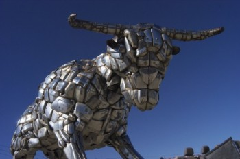Dan Gorman of A & A Auto Salvage in Rapid City constructed this bull entirely out of Cadillac bumpers.