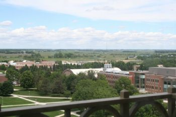 A view of South Dakota State University's campus from the Coughlin Campanile.